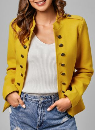 Long Sleeve High Neckline Buttons Pockets Coats Jackets (1360935)