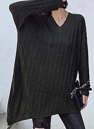 V-Neckline Stripe Casual Oversized Loose Regular A-line Sweaters (112236763)