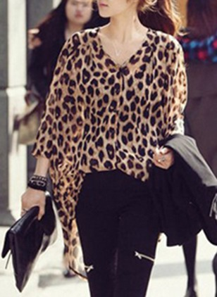 Leopard Sexy Cotton V-Neckline Long Sleeve Blouses