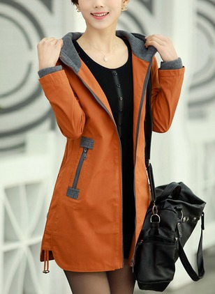 Polyester Long Sleeve Hooded Pockets Coats