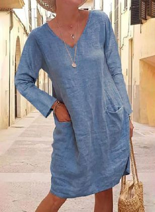 Casual Solid Tunic V-Neckline A-line Dress (101240966)
