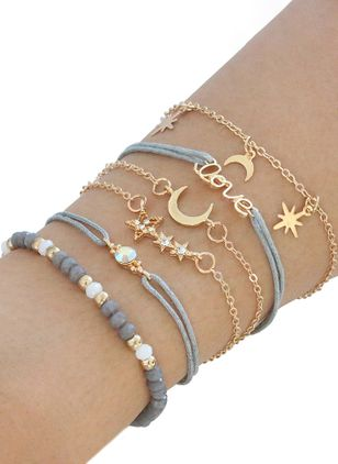 Vintage Ball Moon Star No Stone Link Bracelets (100772642)