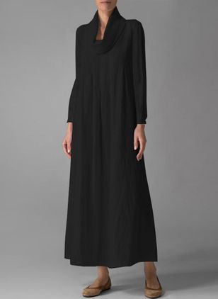 Solid Long Sleeve Maxi Shift Dress