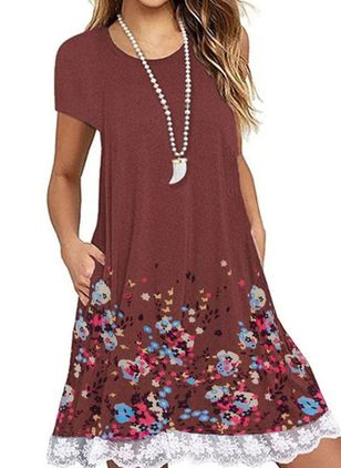 Casual Floral Tunic Round Neckline Shift Dress (147194464)