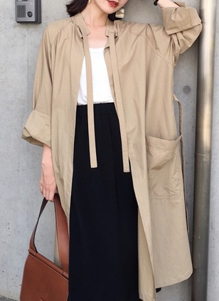 Polyester Long Sleeve Round Neck Pockets Coats
