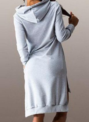 Casual Solid Tunic Round Neckline A-line Dress (107804907)