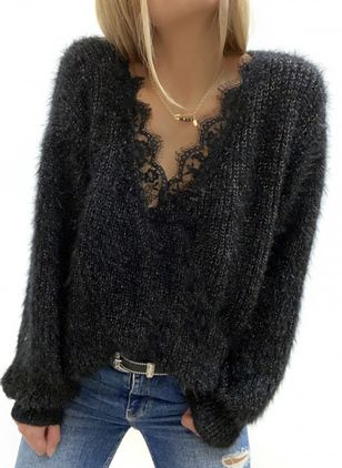 V-Neckline Solid Spring Regular Lace Sweaters (146643344)
