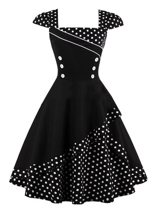 Polka Dot Buttons Skater Knee-Length A-line Dress