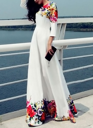 Floral 3/4 Sleeves Maxi A-line Dress