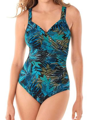 Polyester Floral One-piece Swimwear (146958497)