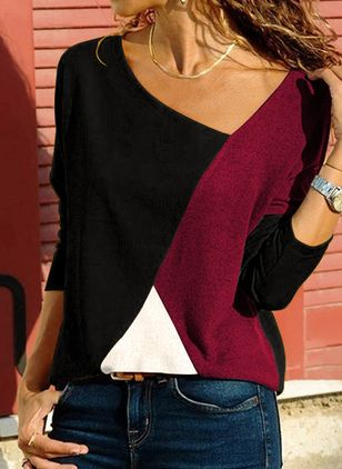 Color Block Casual Oblique Neckline Long Sleeve Blouses (5243396)