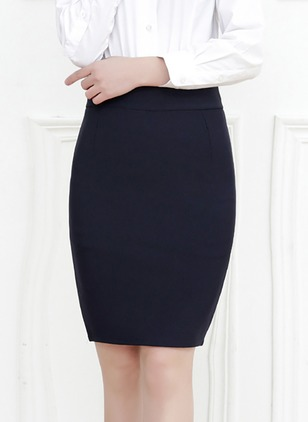 Polyester Solid Knee-Length Casual None Skirts