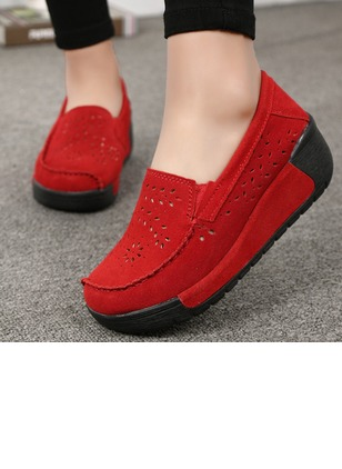 Women's Hollow-out Round Toe Nubuck Wedge Heel Wedges