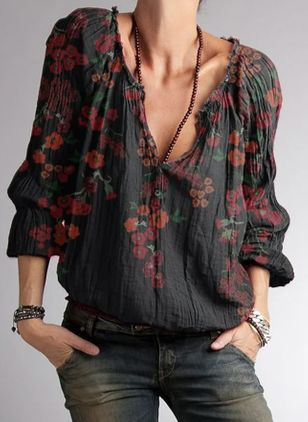 Floral Casual V-Neckline Long Sleeve Blouses (101923958)