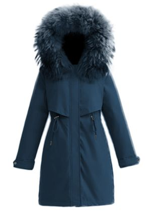 Long Sleeve Hooded Removable Fur Collar Parkas (131286136)