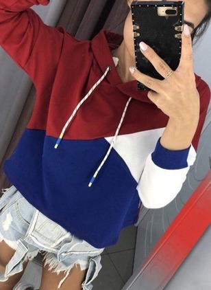 Color Block Casual Cotton Hooded None Sweatshirts