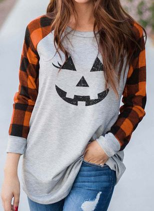 Color Block Round Neck Long Sleeve Halloween T-shirts (108088407)