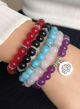 Casual Floral Ball Round Crystal Beaded Bracelets (4073949)