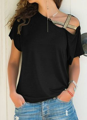 Cotton Solid Oblique Neckline Short Sleeve T-shirts