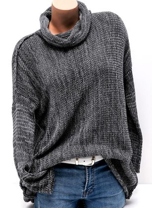 High Neckline Solid Loose None Sweaters