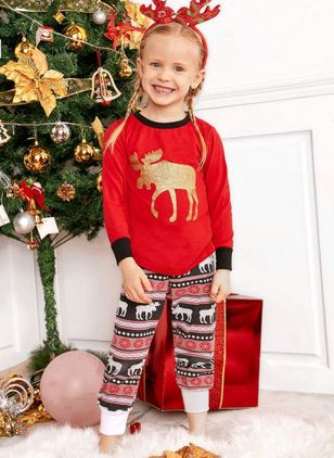 Girls' Christmas Animal Daily Long Sleeve Clothing Sets