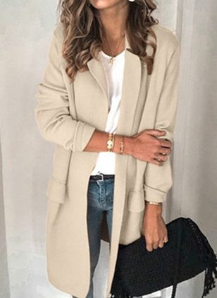 Long Sleeve Lapel Coats (147004755)