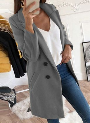 Long Sleeve Lapel Buttons Pockets Coats (101398932)