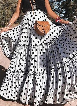 Polka Dot Maxi Casual Skirts