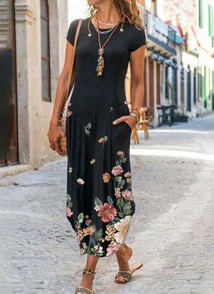 Casual Floral Round Neckline Maxi X-line Dress (147036609)