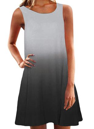 Casual Color Block Tunic Round Neckline A-line Dress (4134982)