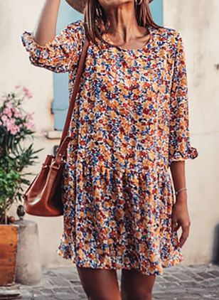 Casual Floral Tunic Round Neckline A-line Dress (100547118)