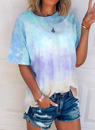 Color Block Round Neck Short Sleeve Casual T-shirts (4046511)