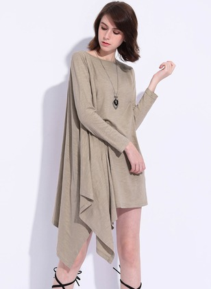 Polyester Solid Long Sleeve Knee-Length Casual Dresses