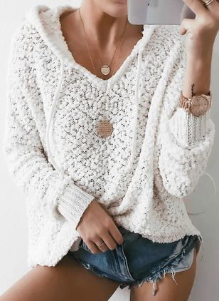 Hooded Solid Loose Regular Shift Sweaters
