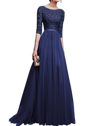 Elegant Solid Lace Round Neckline A-line Dress (1240796)