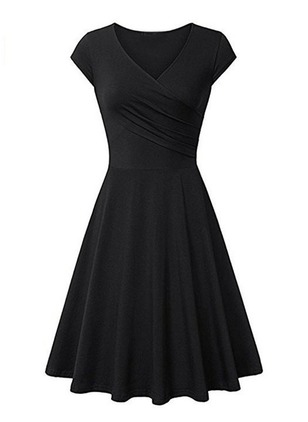 Solid Cap Sleeve Knee-Length A-line Dress