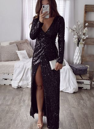 Solid Sequins Long Sleeve Maxi A-line Dress