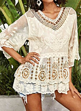 Lace Floral Cover-Ups Swimwear (147500686)