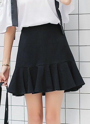 Cotton Blends Solid Above Knee Casual White Black Skirts