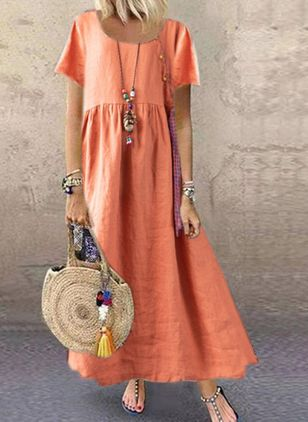 Casual Color Block Tunic Round Neckline A-line Dress (4209045)