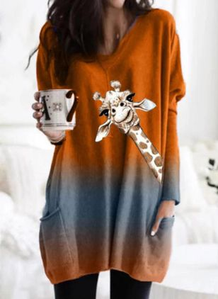 Animal Casual Round Neckline Long Sleeve Blouses (4265663)
