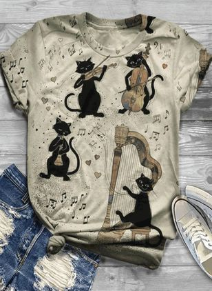 Animal Round Neck Short Sleeve Casual T-shirts (4127542)