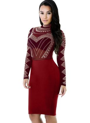 Geometric Pencil Long Sleeve Knee-Length Bodycon Dress