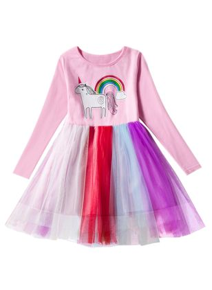 Girls' Princess Animal Party Long Sleeve Dresses