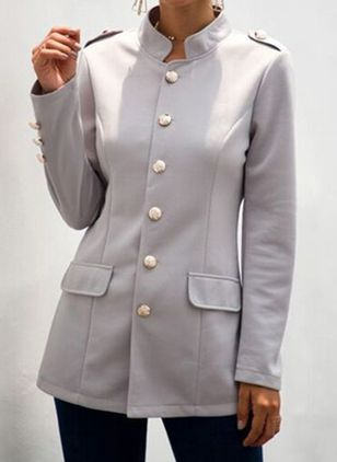 Long Sleeve Stand Collar Buttons Pockets Blazers (6047373)