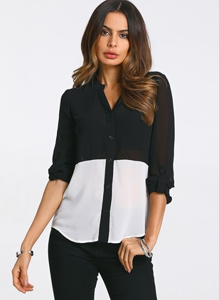 Color Block Casual Polyester 3/4 Sleeves Blouses