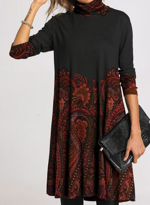 Casual Floral Embroidery Tunic Shift Dress