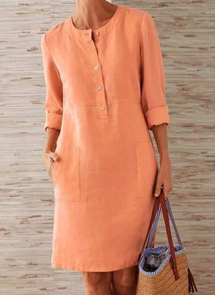 Casual Solid Tunic Round Neckline A-line Dress (148003365)