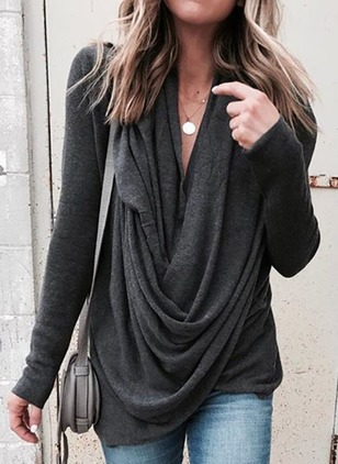Solid Cotton Draped Neckline Long Sleeve Blouses