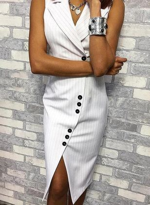 Elegant Stripe Pencil Collar Sheath Dress (4073468)